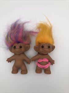 "Lot Of 2 Vintage Troll Doll Uneeda Doll Co Double Horseshoe 3"" Rainbow Orange"