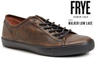 New Frye Walker Low Lace Mens Brown Cognac Leather Lace Up Sneakers Shoes Reg Sz