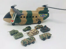 Micro Machines Military Chinook Helicopter Carrier Toy + Tanks Lot Vintage