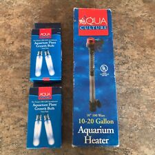 "Aqua Culture 15 Watt Aquarium Plant Growth Bulbs & 10""/100 Watt Aquarium Heater"