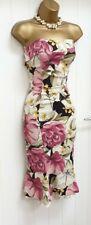 Karen Millen Crema Rosa Floral Sin breteles Wiggle Vestido Ocasión Uk 12