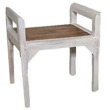 Bench Seater Rustic Chair French White Ottoman Wood Vintage Retro Antique