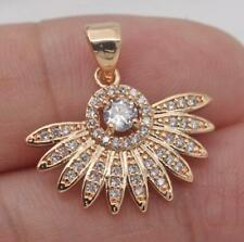 18K Gold Filled - Sunflower Sector Cat Eye Round White Topaz Party Lady Pendant