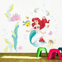 Little Mermaid Coral Fishes Wall Sticker Cartoon Art Decal Girls Bedroom Nursery