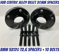 Black Alloy Wheel Spacers 20mm Bmw 1 2 3 5 6 7 8 Series M12x1.5 Bolts 5x120 72-6