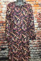 NEW JOE BROWNS 14 Black Floral Long Sleeve Fit & Flare Midi Dress