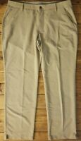 Men's Under Armour Golf Flat Front Match Play Casual Pants Size 40x32 Tan