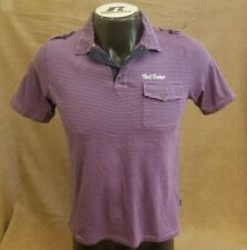 Ted Baker London Age 16 Men Short Sleeve Striped Purple Casual Polo T-Shirt