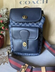 NWT Coach Men Heritage Pack In Signature Chambray