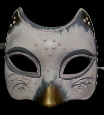 MAR8 HANDMADE IN ITALY PAPIER MACHE, BURLESQUE, KITTEN PARTY MASK,  WHITE/GOLD.