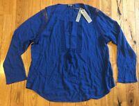 NWT Women's Deep Sapphire JOSEPH A. L/S Crinkle Boho Tassel Blouse Size XL