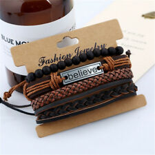 Mens Boys Surfer Adjustable Leather Bracelet Beaded Wrap Wristband Bangle Gifts
