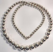 """Sterling Silver Necklace Beads Strung on Chain 24"""" Graduated"""