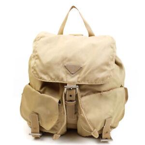 PRADA Nylon Backpack Yellow Triangle Logo