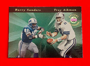 1996 Playoff Barry Sanders / Troy Aikman Optical Illusions Football Card #2; VG