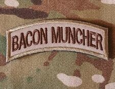BACON MUNCHER ARMY TAB ROCKER USA INFIDEL MILITARY MULTICAM HOOK & LOOP PATCH