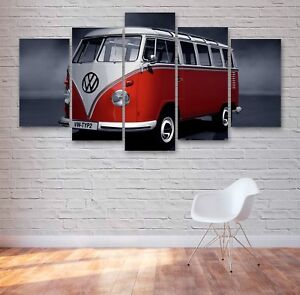 VW Camper Van Classic 5 Panel Canvas, 5 Piece Wall Art, Multi Panel Canvas #027
