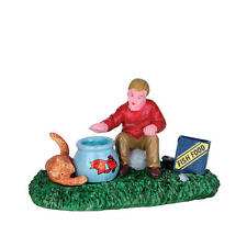"""LEMAX CHRISTMAS VILLAGE HOUSE ACCESSORIES - """"FOOD FOR FISHY"""" FIGURE #62460"""
