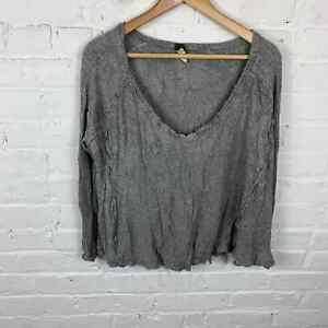 Free People Women's Top Blouse Long Sleeves V-Neck Solid Heather Gray X-Large
