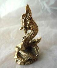 1.5 inch Height Thai Brass Great Naga Nak Snake Serpent Handcraft Wealth
