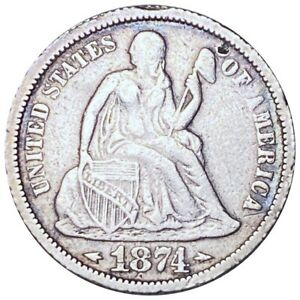 1874 Seated Liberty Half Dollar, Strong Defining Details Silver 10c Coin No Res!