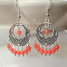 Pink coral Chandelier Earrings 925 sterling silver tibetan silver Natural coral