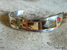 Sterling Silver NAVAJO Inlaid Brown Jasper Jet Tigers Eye Coral Cuff Bracelet