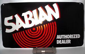 SABIAN Vintage1990s ORIGINAL AUTHORIZED DEALER PLEXI SIGN FACEPLATE 23.5 x 12.75