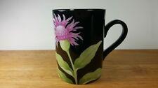 Fitz & Floyd 1978 Pink Flower FLEURS de MINUIT Black Porcelain Mug Cup FF37