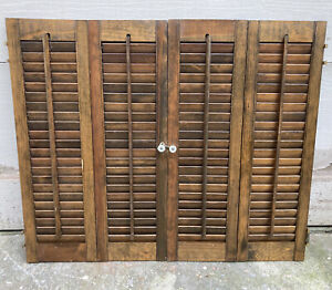 "26 1/2"" T x 32"" W VTG Colonial Wood Interior Louver Plantation Window Shutters"