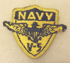 WWII NAVY PILOT V-5 PROGRAM PATCH EMB GREENBACK OFF HAT COTTON CUT EDGE