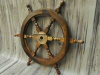 """18"""" Nautical Wooden Ship Steering Wheel Pirate Wood Brass Fishing Wall Décor"""