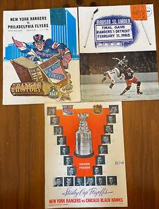 1968 NHL RANGERS Red Wings Black Hawks Flyers PROGRAM - 3 Lot With Tickets