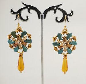 orecchini pendenti gocci  lunghi artigianali pezzo unico perline di vetro regalo