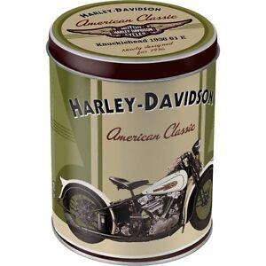 Vintage, Rétro Harley Davidson Knucklehead Can Étain Boite Crâne Motard 004-D