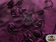 "Taffeta Ribbon Rosette Fabric PLUM / 58"" Wide / Sold by the yard"