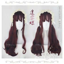 Japanese Harajuku Wine Red Gradient Fairy Curly Sweet Lolita Cosplay Daily Wig