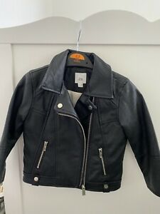 Toddler Girls River Island Black Faux Leather Biker Jacket Age 12-18 Months