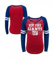 New York Giants Fashion Team Alt Color Burnout LS T-Shirt Girls Size M (7/8) NWT