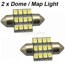 2x White LED Bulbs 31mm Festoon 12-SMD Dome Map Super Bright Light DE3175