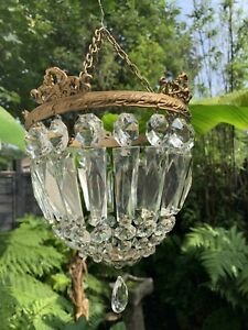 Vintage Bag Crystal Glass Chandelier Brass Gallery  Gold Ceiling Lamp Shade