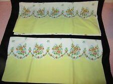 Vintage Pair Cotton Pillowcases - White w/Yellow Border Edge w/Yellow Roses -c