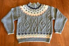 VTG 80s Fair Isle Sweater Fairy Kei Chunky Cable Knit Ski KAWAII Pastel Sz L
