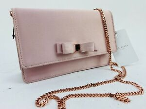 Ted Baker Crossbody Bag Pink Satin Clutch Bow Rose Gold Chain