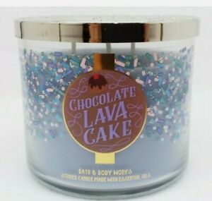 Bath & Body Works Chocolate Lava Cake 3-Wick Candle Large 14.5 Oz Made With...
