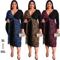 Plus Size Women's Sexy V-Neck Leopard Dress Bodycon Nightclub Ball Gown Dresses