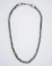 """HEAVY VINTAGE 70's SOLID 6mm BYZANTINE STERLING NECKLACE ~ 17"""" / 94.9 g"""