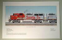 Railroad Train art Santa Fe GP60M & GP60B Superfleet Warbonnet signed print
