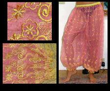 Harem Pants Belly Dance Dusty Pink w/ Gold Brocade