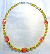 """20"""" necklace yellow glass pearls + 18mm orange glass beads"""